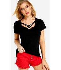 negro con cordones diseño camisetas de manga corta con cuello en v