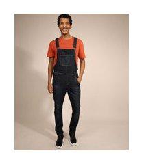 macacão jeans masculino com bolsos azul escuro