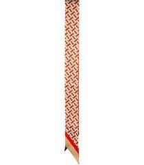 burberry monogram text silk ribbon scarf