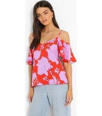 geweven bloemenprint hemdje met uitgesneden schouders, orange