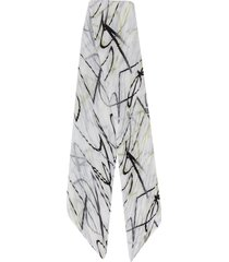 pleats please issey miyake pleated graphic print scarf - white
