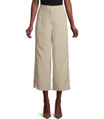 akris punto women's filip linen cropped pants - desert - size 18