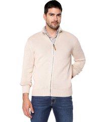 sweater beige 48 preppy m/l c/alto abi cremallera t.grueso