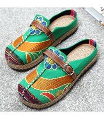 socofy donne mocassini loafers folk colorati ricamati con fibbia con schiena scoperta