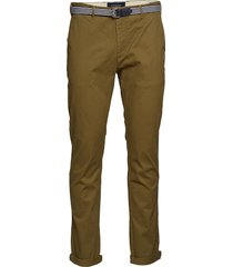 ams blauw stuart chino with belt in stretch peached quality chinos byxor grön scotch & soda