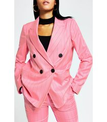 river island womens pink stripe double breasted boyfriend blazer