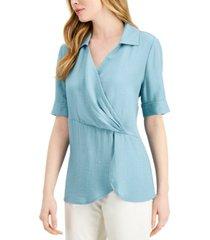 alfani collared surplice blouse, created for macy's