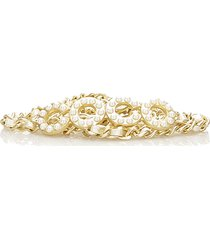 chanel coco faux pearl chain belt gold, white, pearl sz:
