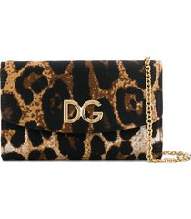 dolce & gabbana leopard print wallet bag - brown