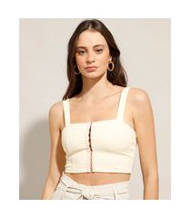 top cropped corset com colchetes alça larga decote reto bege claro
