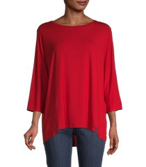 eileen fisher women's ballet neck top - hot red - size l