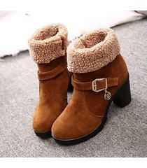 donna stivaletti invernali alla caviglia di lana d'agnello con tacchi quadrati a trend nuovo e dolce