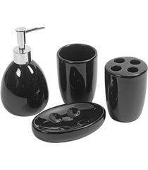 conjunto de acessórios para banheiro em cerâmica com 4 peças preto