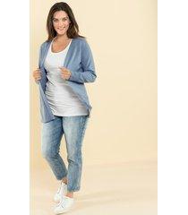 basic vest in open model janet & joyce lichtblauw
