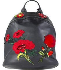mochila flores piel negro mailea