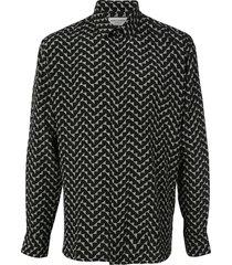 saint laurent triangle print silk shirt - black