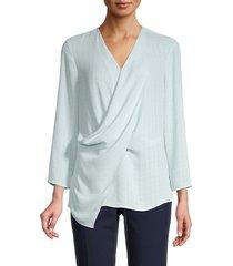 nic+zoe women's draped tonal print top - blue - size xs