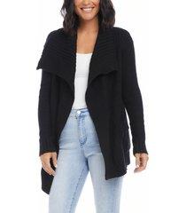 women's karen kane shawl collar open cardigan, size x-large - black