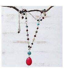 multi-gemstone pendant necklace, 'springtime hot pink' (brazil)