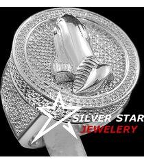 0.25 cttw mens sim. diamond praying hands medallion circle top pinky band ring