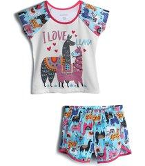 pijama marisol curto menina lhama azul/branco