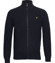 knitted rib zip through cardigan gebreide trui cardigan blauw lyle & scott