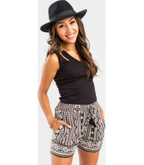 ashlin mixed boho print shorts - black