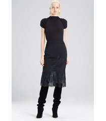 viscose satin skirt, women's, black, size 6, josie natori