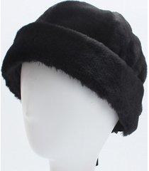 donna inverno caldo faux rabbit fur skullcap cappello da marinaio orlo arrotolato berretto senza punta