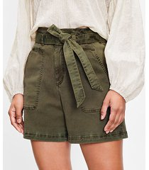 loft cuffed paperbag pull on shorts in twill