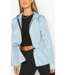 shell peplum drawstring jacket, light blue