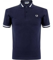 fred perry single tip navy polo shirt m2-797