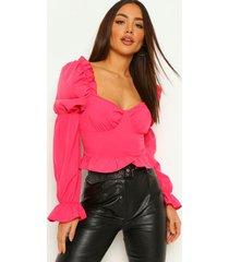 geweven blouse met ruches, hot pink