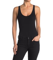 women's bp. double scoop stretch cotton bodysuit, size large - black