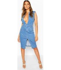 sleeveless plunge denim dress, light blue