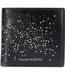 alexander mcqueen studded bi-fold wallet - black