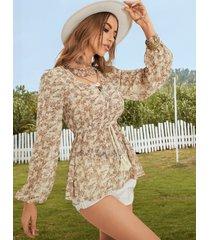 blusa de manga abullonada con cuello en v y diseño de cordón de calicó yoins