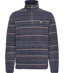 fairisle fleece half zip sweat-shirts & hoodies fleeces & midlayers blauw lyle & scott