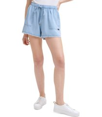 calvin klein jeans high-rise drawstring shorts