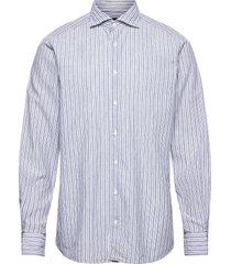 contemporary fit blue cotton linen poplin shirt skjorta business blå eton