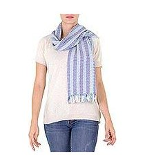 cotton scarf, 'blue atitlan' (guatemala)