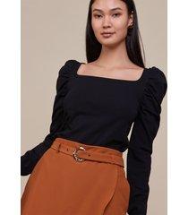 blusas amaro manga longa tipo puff preto - preto - feminino - dafiti