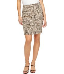 jen7 leopard-print denim pencil skirt