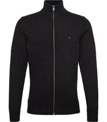 chunky cotton zip through gebreide trui cardigan zwart tommy hilfiger