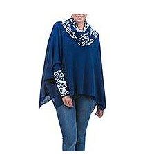 100% alpaca poncho with sleeves, 'blue roses' (peru)