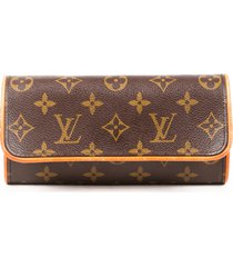 louis vuitton twin pochette pm monogram coated canvas bag brown/monogram sz: m
