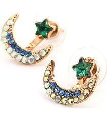 orecchini con strass a forma di luna stelle e pentagono