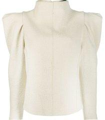 isabel marant puff-shoulder long-sleeve blouse - neutrals