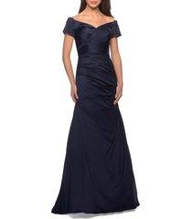 women's la femme off the shoulder beaded satin trumpet gown, size 10 - blue