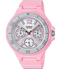 reloj analógico mujer casio lrw-250h-4a2 cronógrafo - rosa con plateado